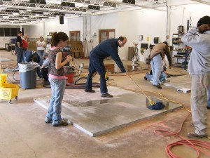 Students Practice Floor Preparation